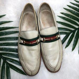 Vintage Gucci horsebit tan/cream men's loafers